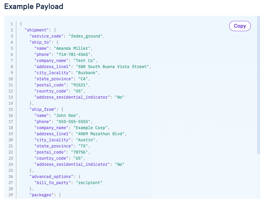 Code sample from ShipEngine documentation on how to create an API call for a FedEx Ground Collect shipment
