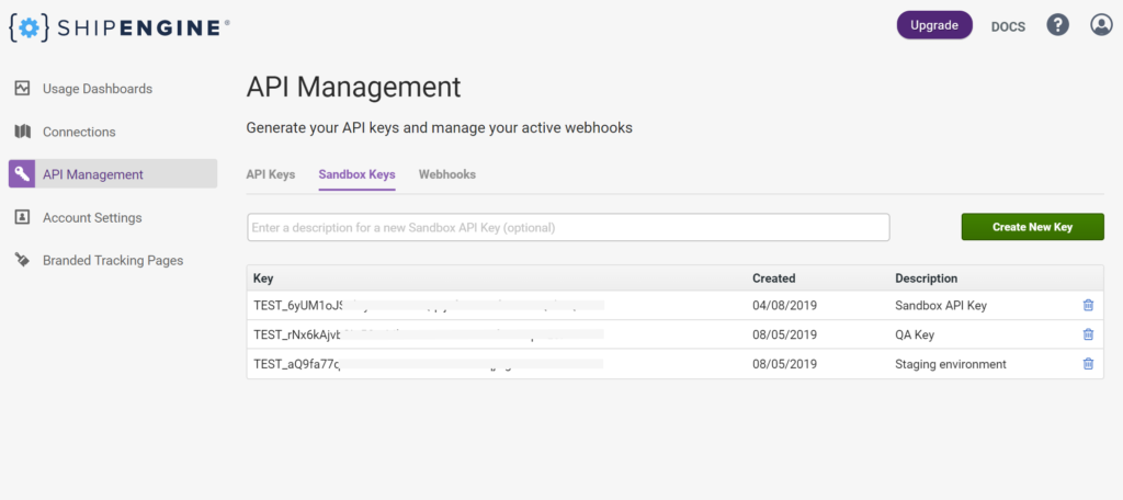 ShipEngine Sandbox Environment Dashboard - How to generate your API keys and active webhooks