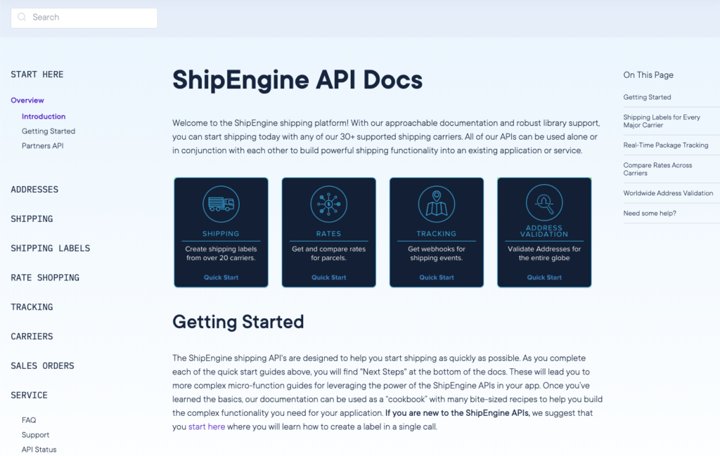 Screenshot of ShipEngine's Introduction to Documentation